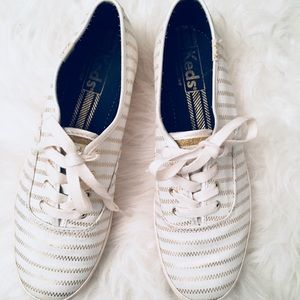 White and Gold Champion Keds Sneakers Size 7.5